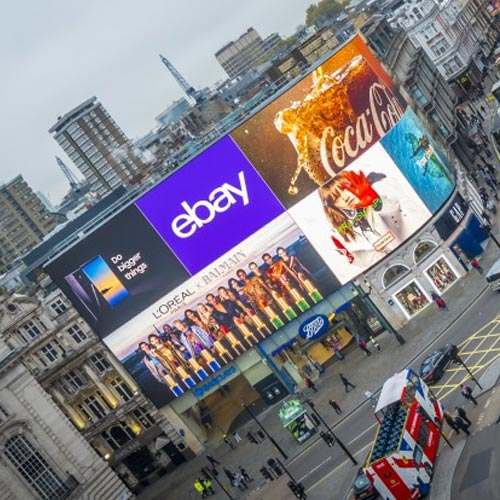 Adverts shown on Piccadilly Lights Digital OOH Billboard viewed from above
