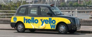 Taxi with Chiquita advertising