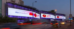 6 out of home digial billboards showing Sky's advert