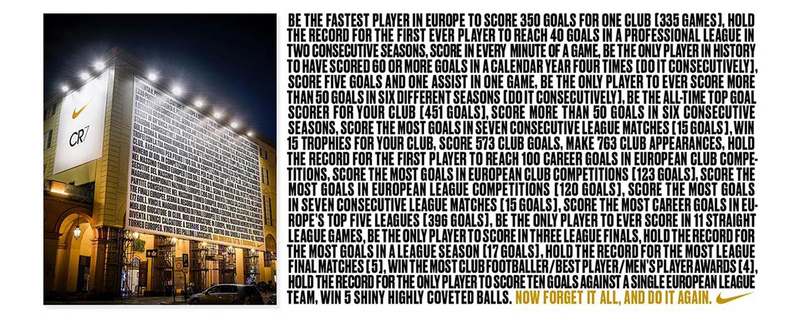 Picture of Nike billboard along with the text of his accomplishments