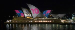 Advertising projections on the Sydney Opera House