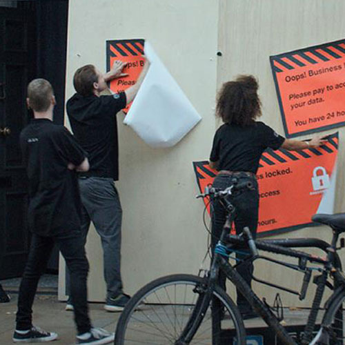 Brompton shop being boarded up in a cybercrime simulation