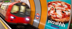 TfL HFSS restrictions - billboard with Pizza advert