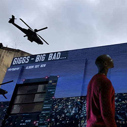 Augmented reality mural in Shoreditch. helicopter in the background promoting Giggs album